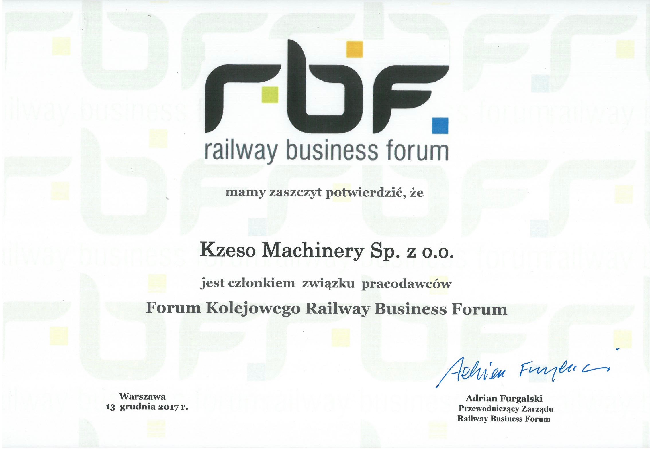 KZESO Machinery Członkiem Rail Business Forum
